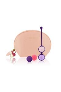 Набор вагинальных шариков Rianne S: Pussy Playballs Nude, вес 15г, 25г, 35г, 55г, монолитные, косметичка