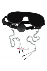 Набор Bad Kitty Ball gag with nipple clamps and mask