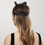 Маска кошечки Bijoux Indiscrets MAZE - Cat Ears Headpiece Black, экокожа