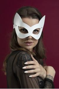 Маска кошечки Feral Feelings - Kitten Mask, натуральная кожа, белая